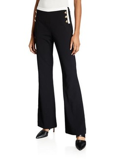 Calvin Klein Wide-Leg Pants W Contrast Button