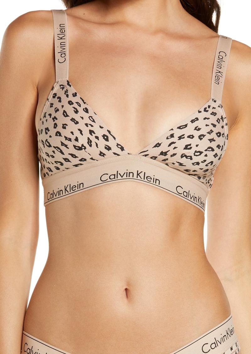 Calvin Klein Animal Print Crossback Cotton Blend Triangle Bralette