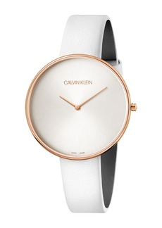 Calvin Klein Women's Full Moon Leather Band Watch, 42mm