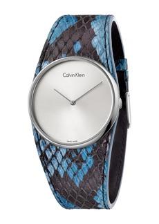Calvin Klein Women's Spellbound Snake Embossed Leather Watch, 39mm