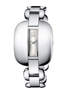 Calvin Klein Women's Treasure Silver Dial Bracelet Watch, 41.5mm L x 35mm W