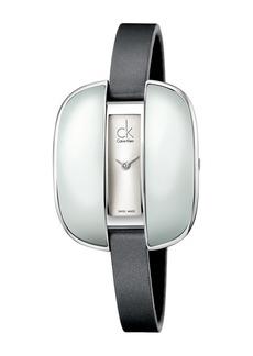 Calvin Klein Women's Treasure Silver Dial Satin Watch, 41.5mm L x 35mm W