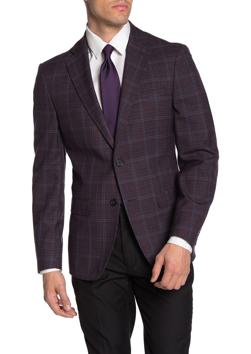 Calvin Klein Wool Blend Slim Fit Windowpane Sport Coat