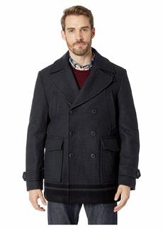 Calvin Klein Wool Peacoat with Color Blocked Hem