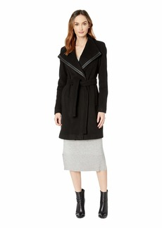 Calvin Klein Wool Wrap with PU Trim Detail