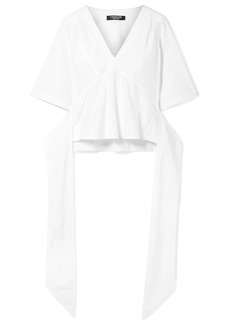 Calvin Klein Wrap-effect Cotton-poplin Blouse