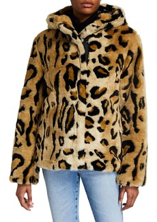 Calvin Klein Zip-Front Cheetah Faux-Fur Coat