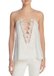 CAMI NYC Charlie Lace-Trimmed Eyelet-Detail Top