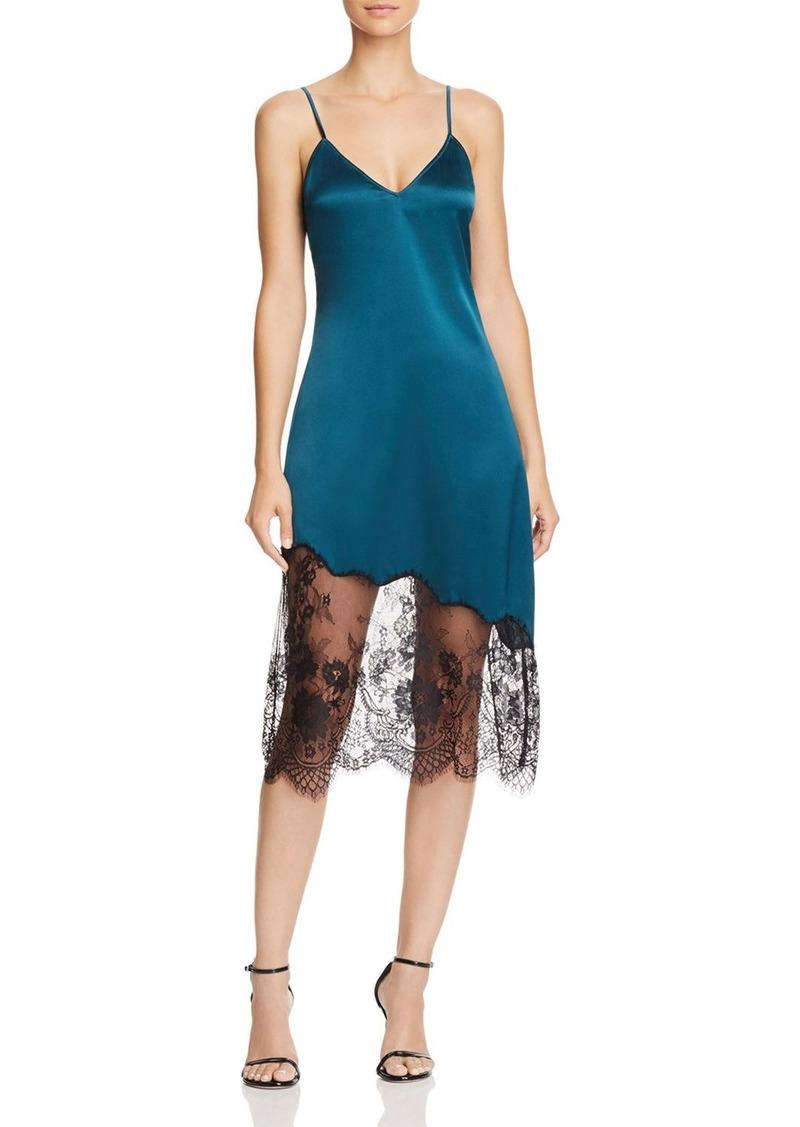 CAMI NYC Selena Lace-Inset Silk Slip Dress