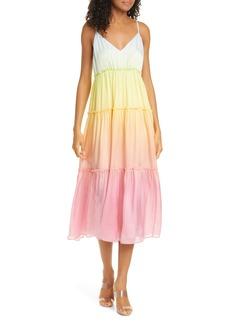 CAMI NYC The Adrienne Rainbow Tiered Silk Midi Dress