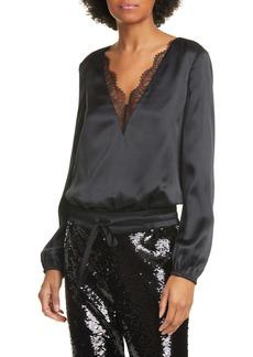 CAMI NYC The Maddox Lace Trim Silk Satin Bodysuit
