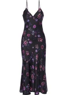 Cami Nyc Woman The Colleen Floral-print Silk-charmeuse Midi Slip Dress Black