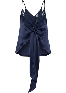 Cami Nyc Woman The Dallas Lace-trimmed Knotted Silk-charmeuse Camisole Midnight Blue