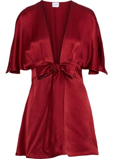Cami Nyc Woman The Lane Bow-detailed Silk-charmeuse Mini Dress Claret