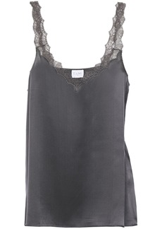 Cami Nyc Woman The Melody Lace-trimmed Silk-charmeuse Camisole Anthracite