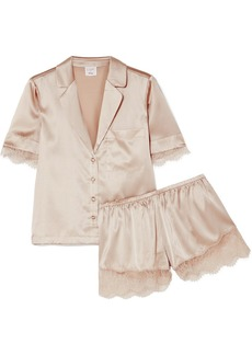 Cami NYC Sahar Lace-trimmed Stretch-silk Charmeuse Pajama Set