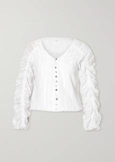 Cami NYC The Gia Ruched Embroidered Cotton-voile Blouse