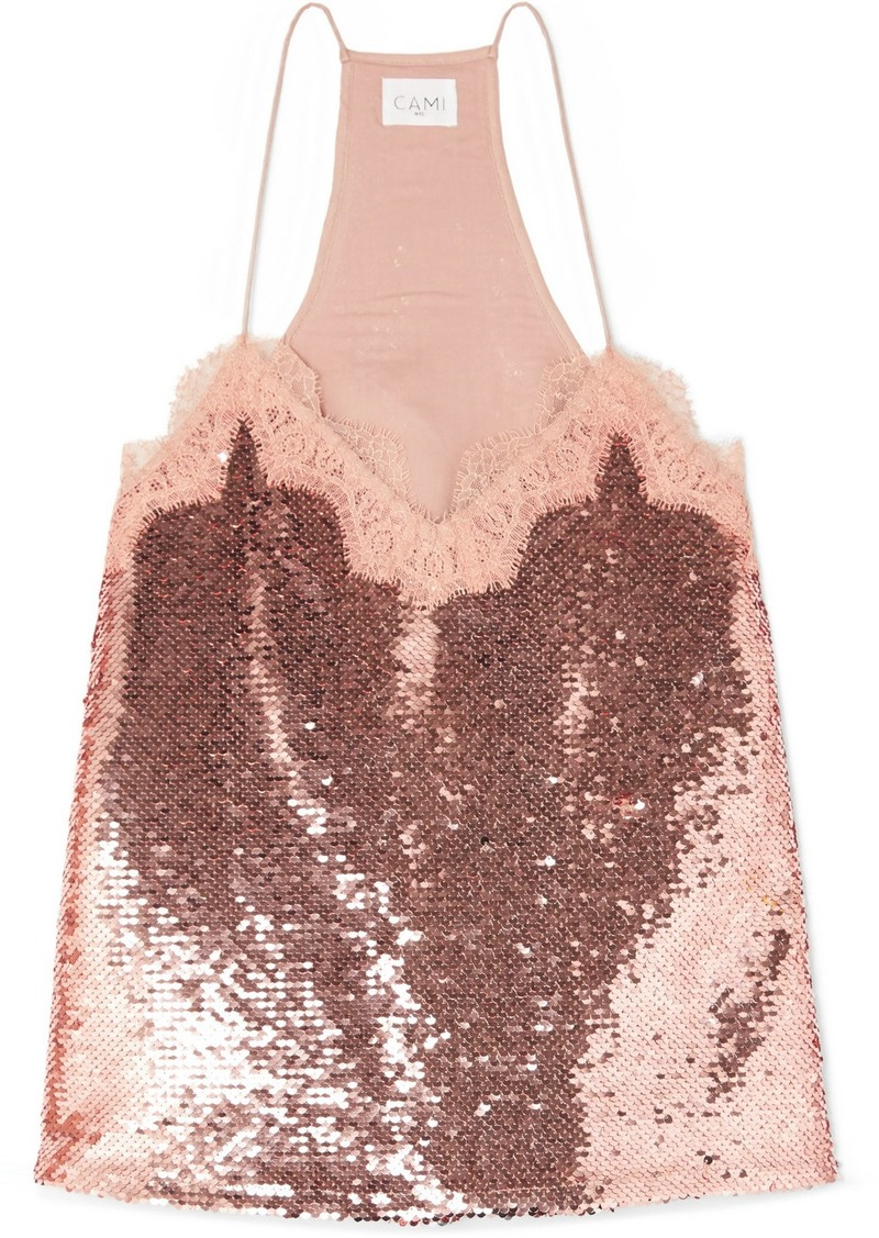 Cami NYC The Racer Lace-trimmed Sequined Crepe De Chine Camisole