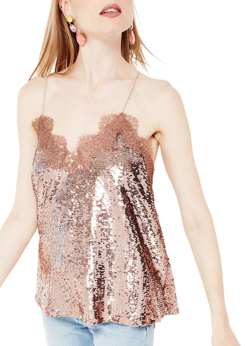 Cami NYC The Racer Sequin Camisole  Rose Dust