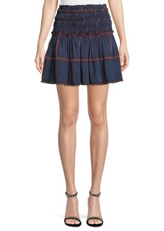 Camilla and Marc Alaine Smocked Plaid Mini Skirt