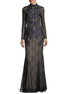 CAMILLA AND MARC Coco Mock-Neck Long-Sleeve Illusion Lace Evening Gown