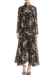 Camilla and Marc Gardin Turtleneck Long-Sleeve Floral-Print Dress