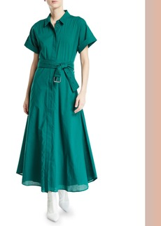 Camilla and Marc Maya Button-Front Short-Sleeve Cotton Dress w/ Belt