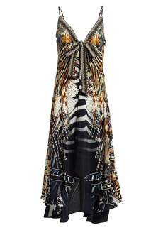 Camilla Animal Print Silk High-Low Dress