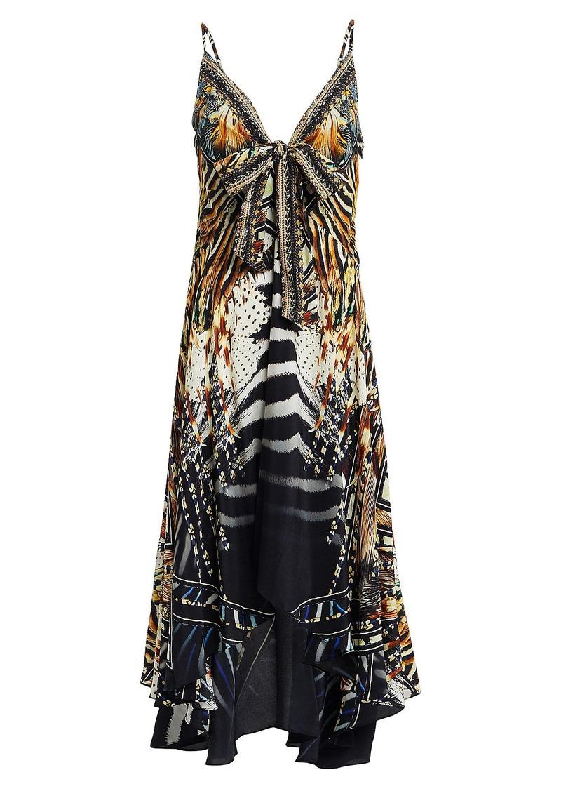 Camilla Animal Print Silk High-Low Dress