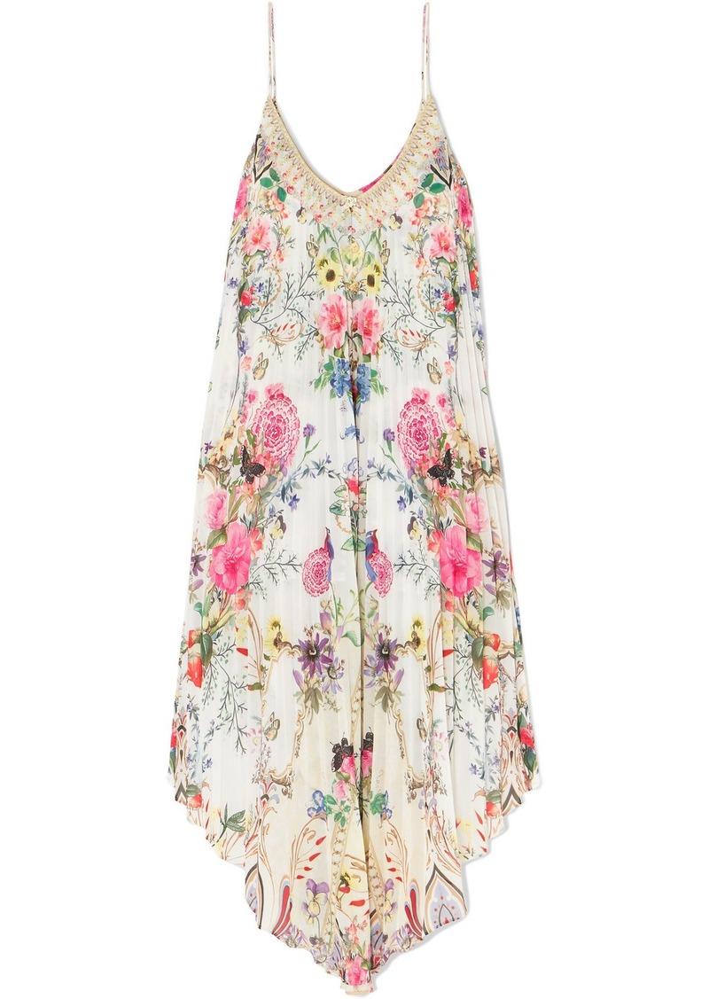 Camilla Asymmetric Pleated Floral-print Crepe De Chine Dress