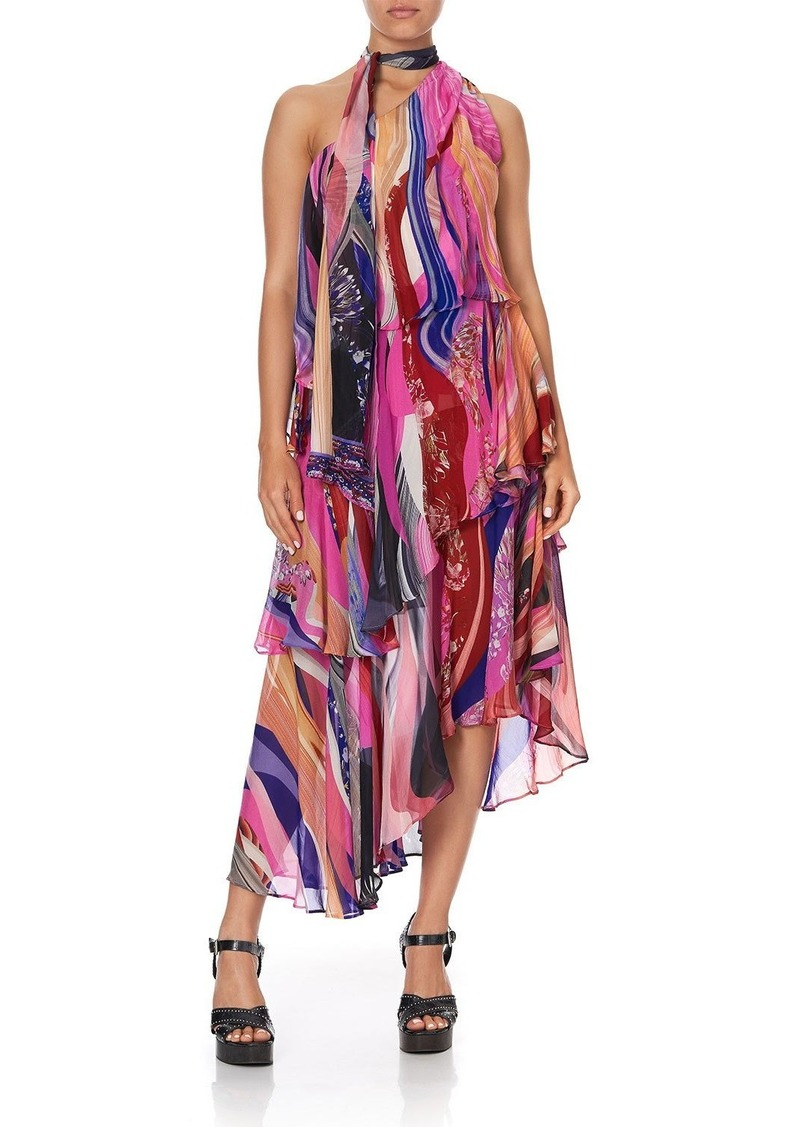 Camilla Asymmetric Tie-Neck Silk Dress