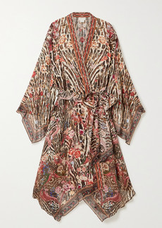 Camilla Belted Crystal-embellished Printed Silk-chiffon Kimono