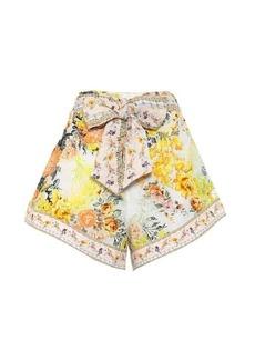 Camilla Belted floral linen shorts