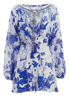Camilla Blouson Sleeve Floral-Printed Playsuit