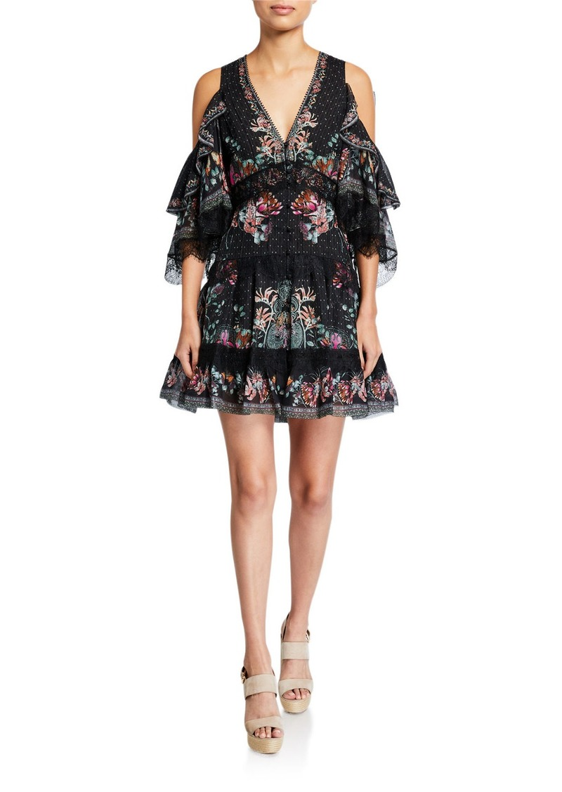 Camilla Button-Up Cold-Shoulder Dress with Lace Insets