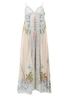 Camilla Beach Shack lace-up silk maxi dress