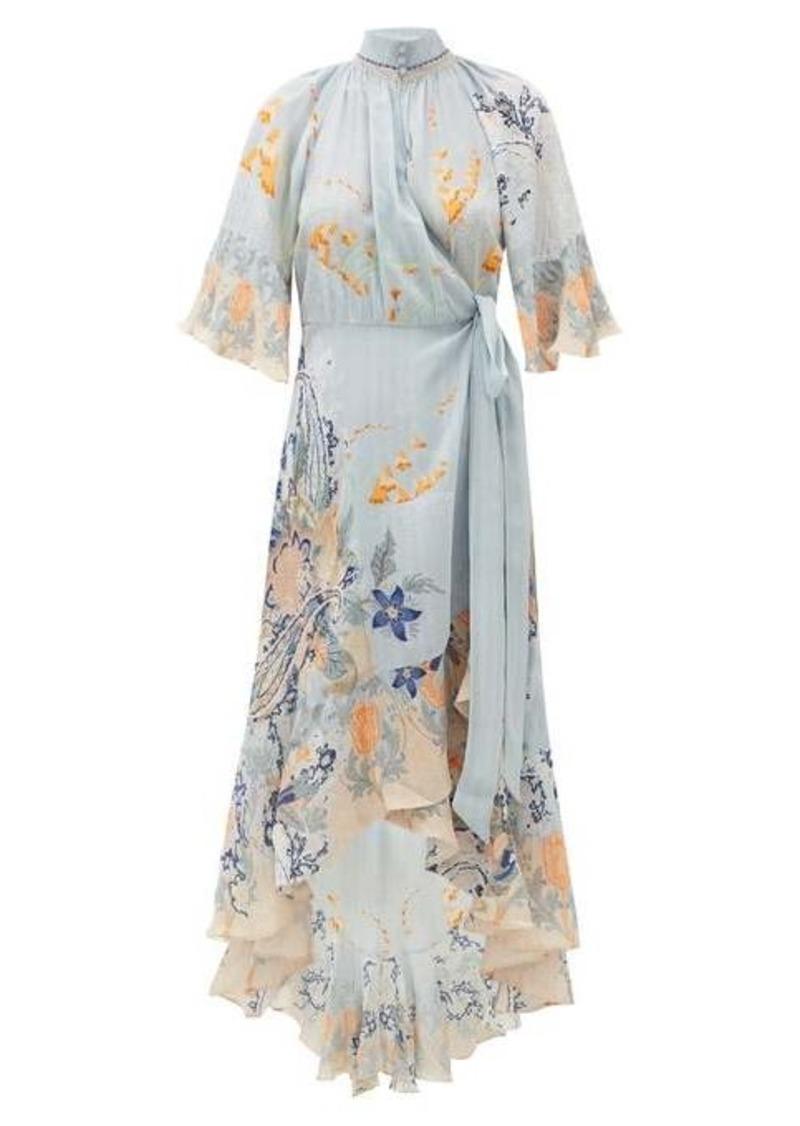 Camilla Blue Base high-neck silk wrap dress