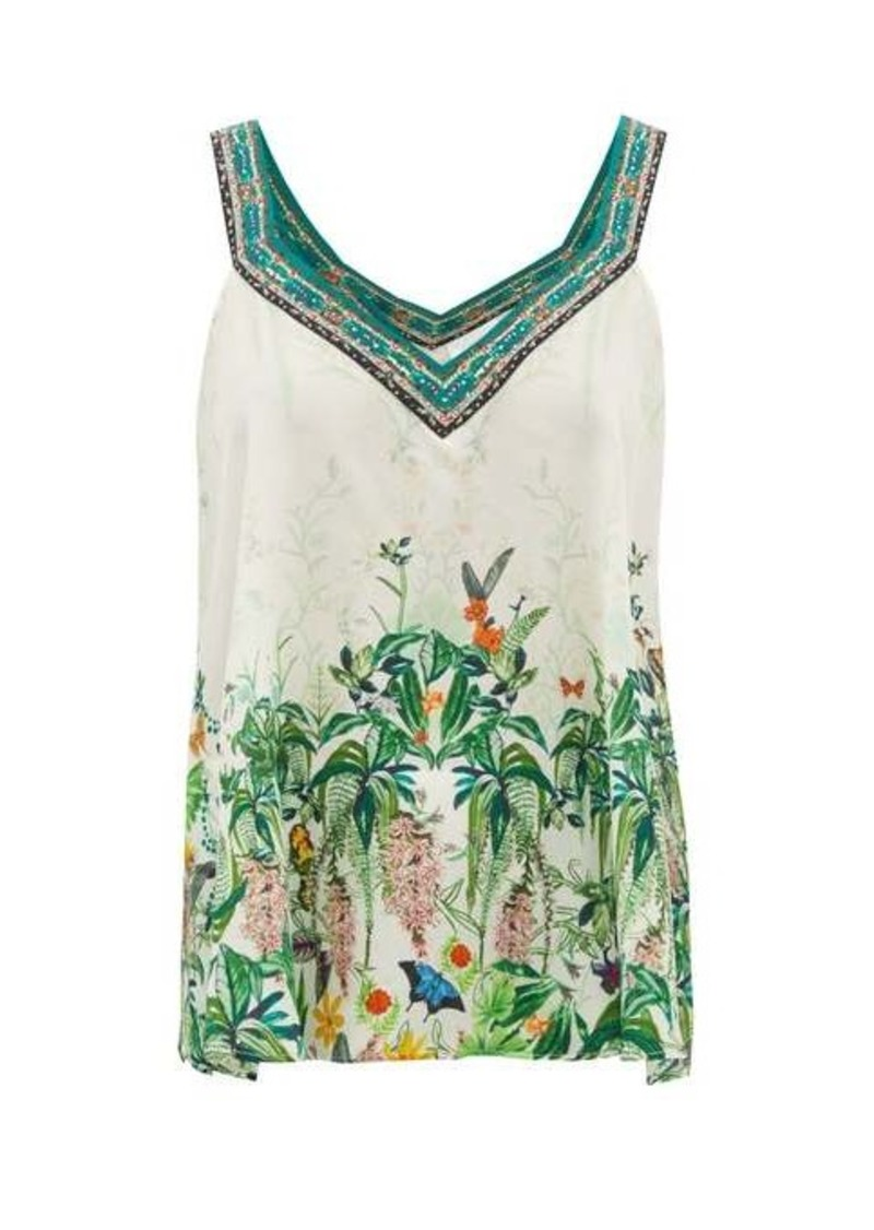 Camilla Daintree Dreaming forest-print silk camisole