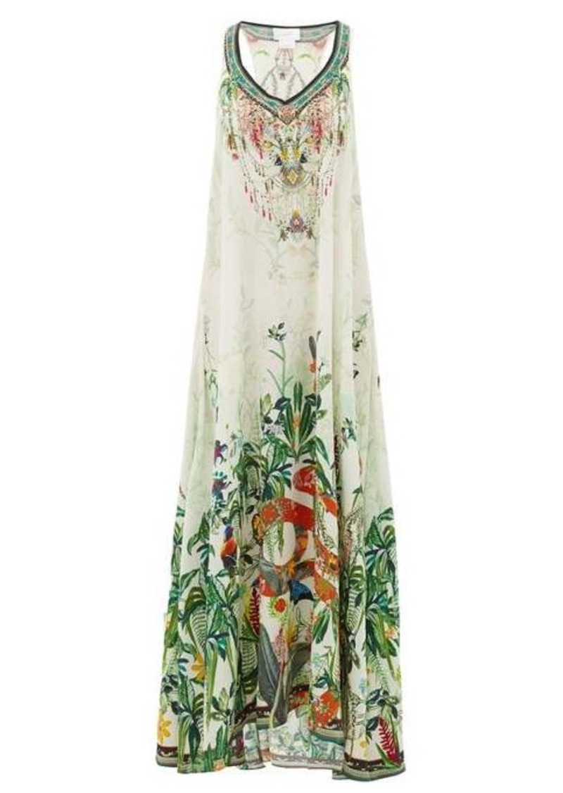 Camilla Daintree Dreaming forest-print silk dress