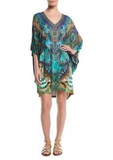 Camilla Embellished Bat-Sleeve Kaftan Dress
