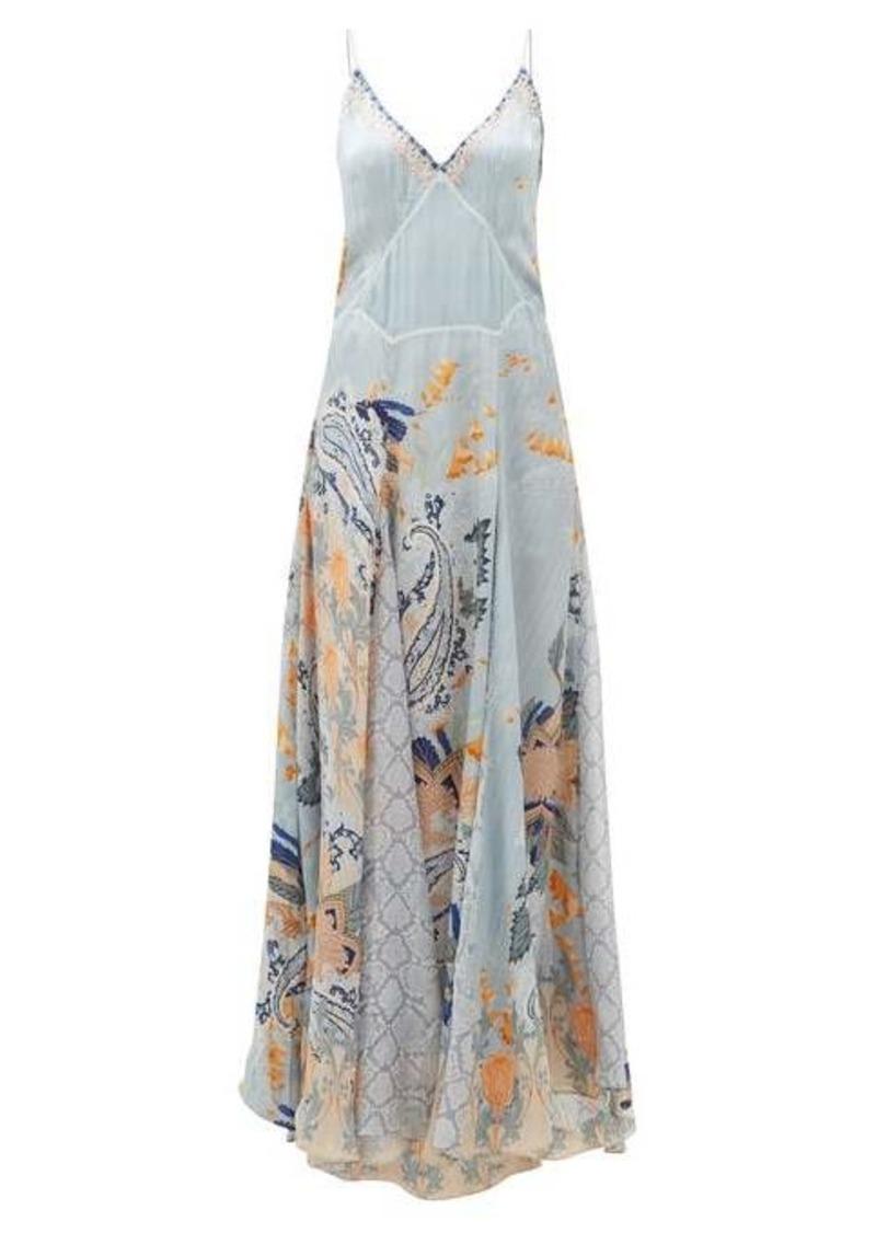 Camilla Fraser Fantasia godet-insert silk slip dress