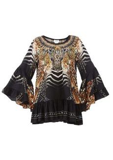 Camilla Lost Paradise-print bell-sleeve silk-crepe dress