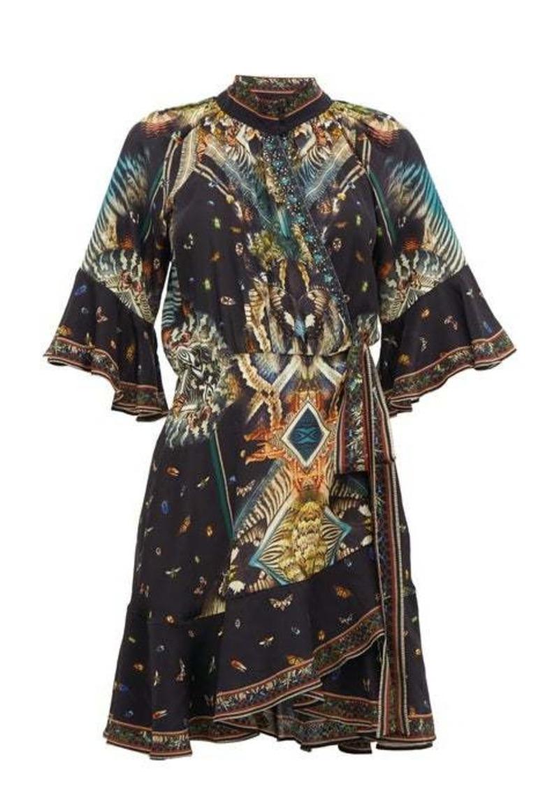 Camilla Mother Nature-print silk wrap dress