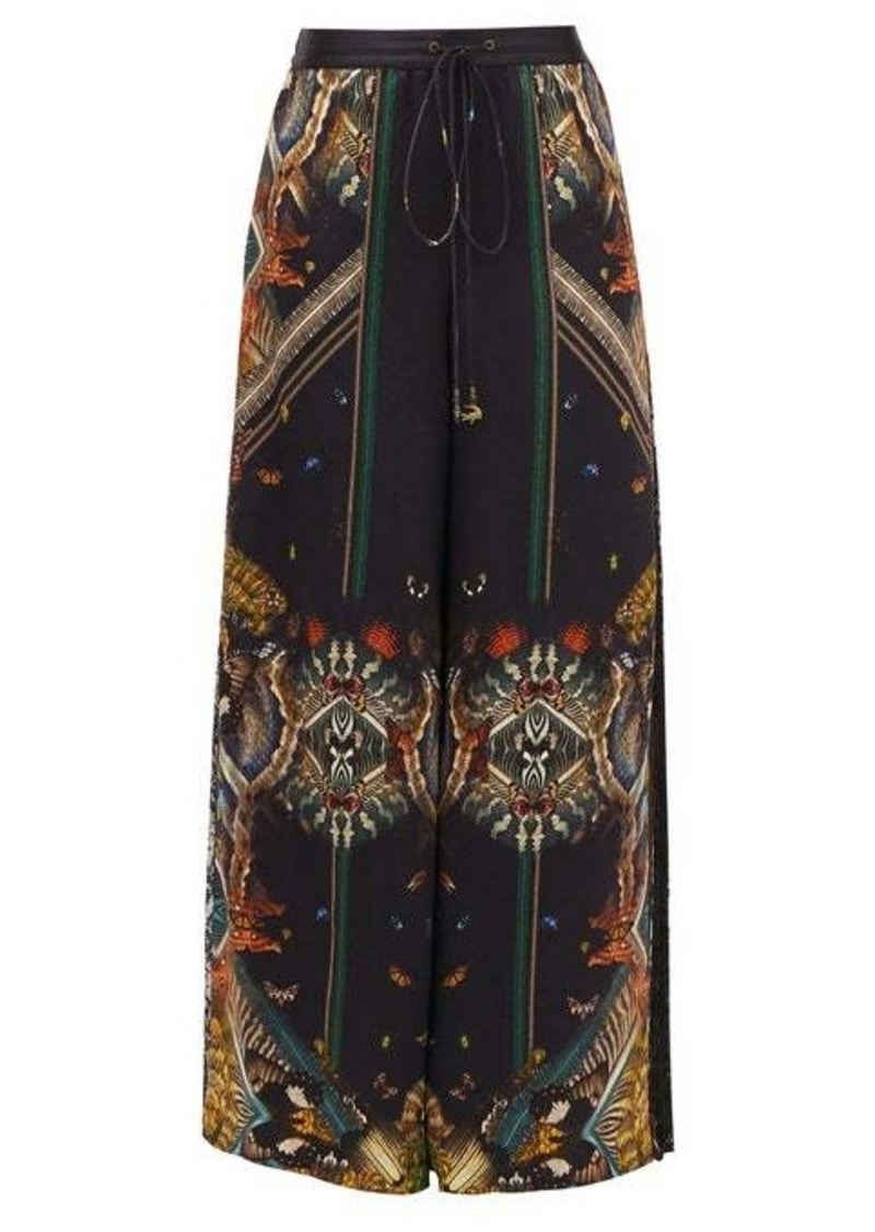 Camilla Mother Nature-print wide-leg silk trousers