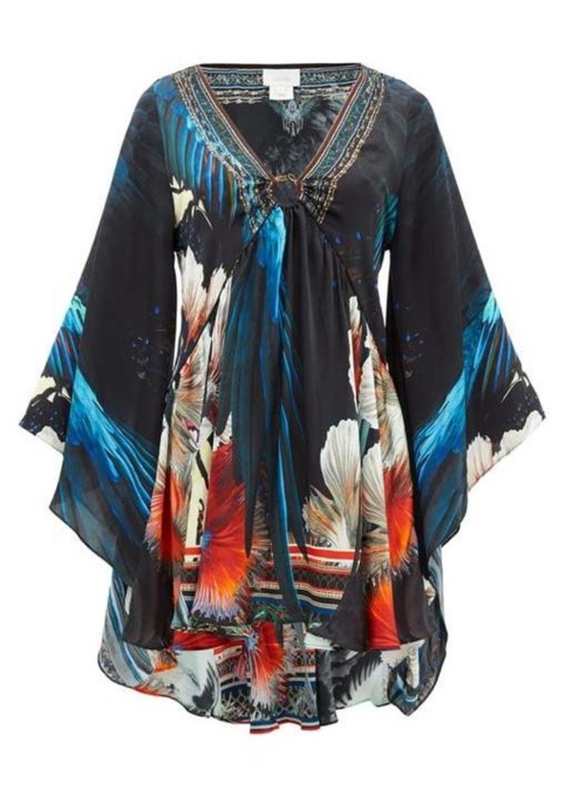 Camilla Night Flight bell-sleeve silk-satin dress