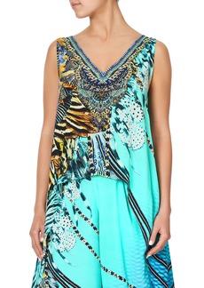 Camilla Printed High-Low Overlay Sleeveless Top