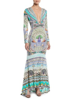 Camilla Printed Silk Long-Sleeve Maxi Dress
