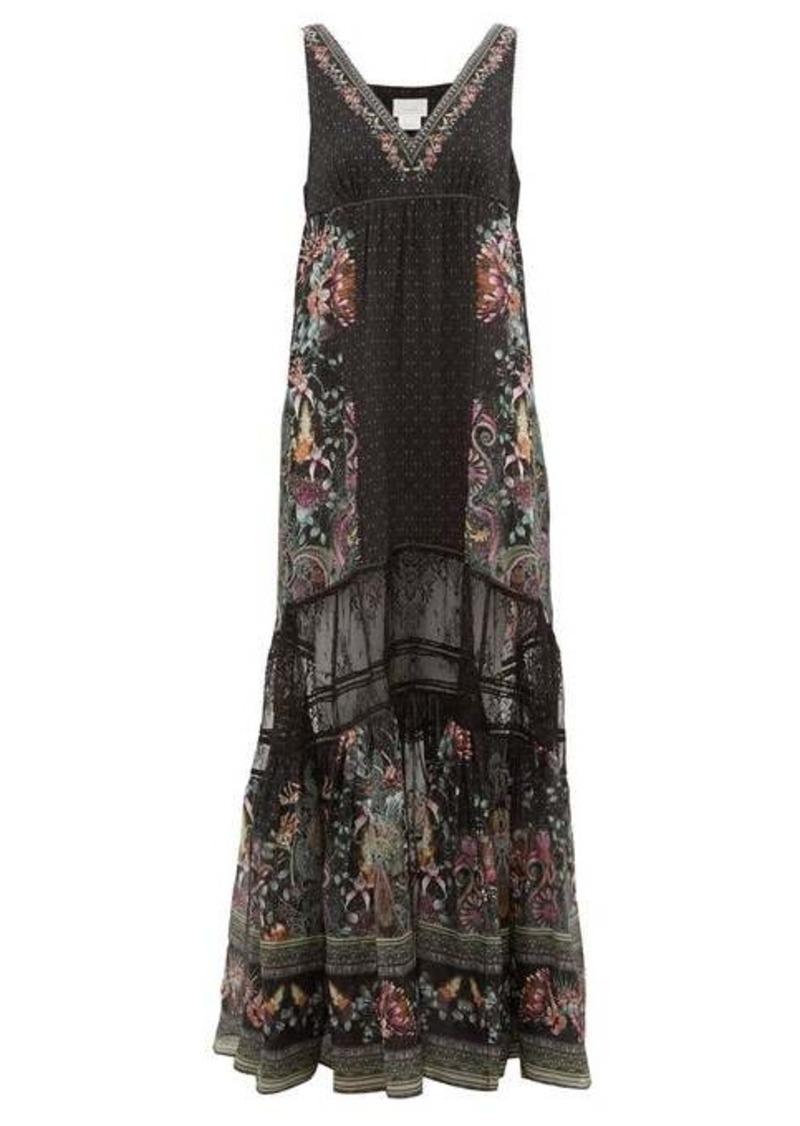 Camilla Restless Nights lace-paneled silk maxi dress