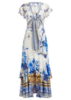 Camilla Saint Germaine-print silk wrap midi dress