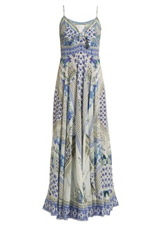 Camilla Salvador Summer-print tie-front silk dress